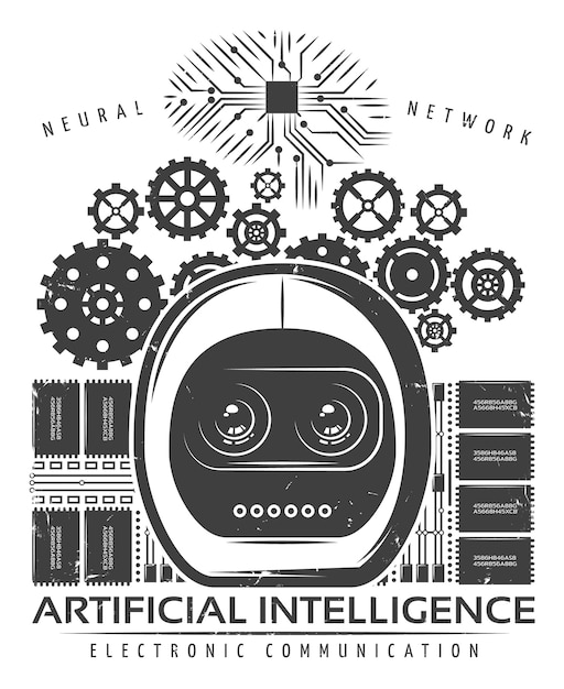 Modèle D'étiquette D'intelligence Artificielle Vintage Vecteur gratuit