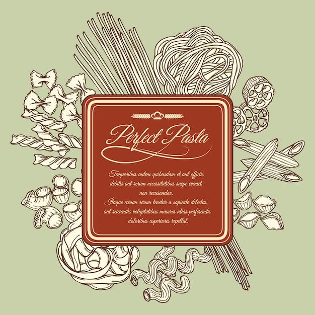 Modèle d'étiquette de pâtes parfait Vecteur Premium
