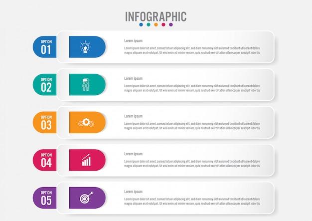 Modèle d'étiquettes infographie métier avec 5 options Vecteur Premium