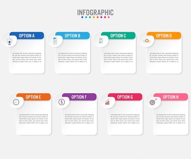 Modèle d'étiquettes infographie métier avec 8 options Vecteur Premium