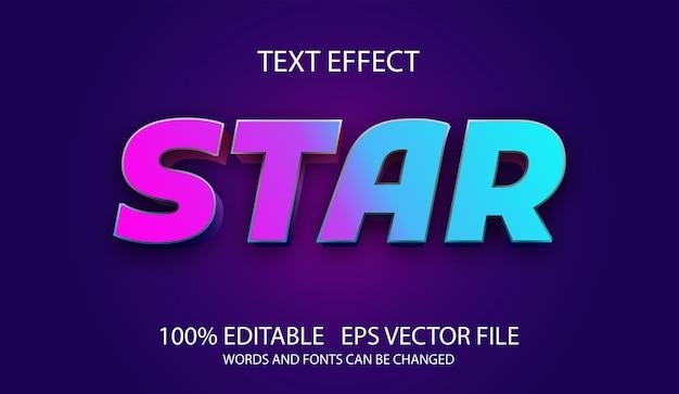 Modèle D'étoile D'effet De Texte Modifiable Vecteur Premium