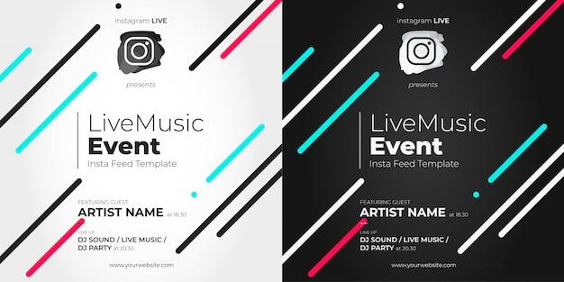 Modèle D'événement En Direct Instagram Avec Des Lignes Vecteur gratuit