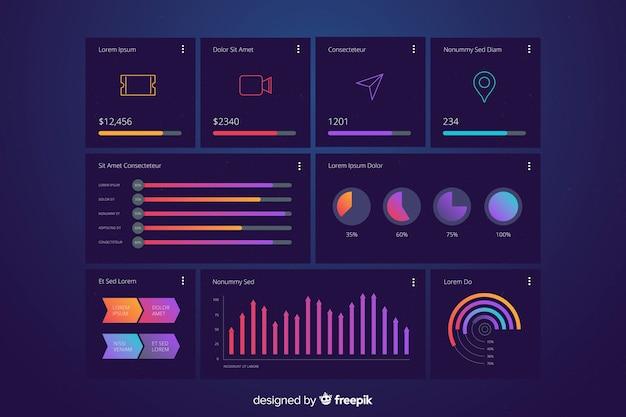 Modèle d'évolution du graphique de statistiques marketing Vecteur gratuit