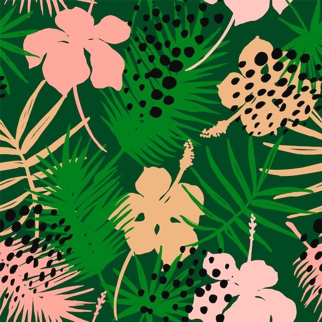 Modèle Exotique Sans Couture Avec Des Plantes Tropicales. Vecteur Premium