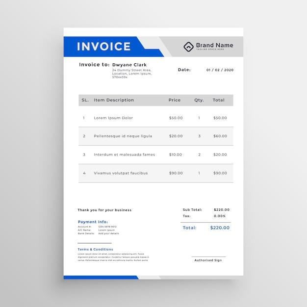 Modèle de facture bleu moderne Vecteur gratuit