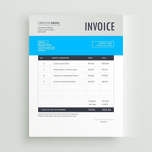 Modèle de facture bleue en style simple Vecteur gratuit