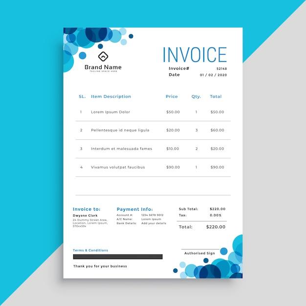 Modèle de facture business élégant cercles bleus Vecteur gratuit