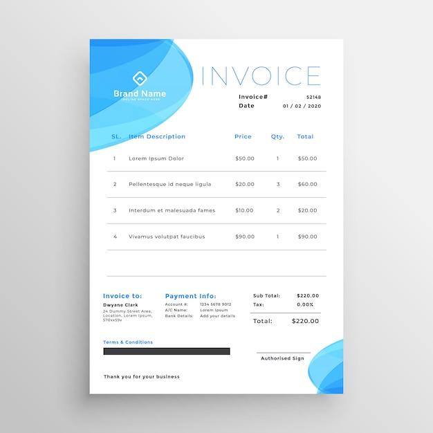 Modèle de facture commerciale bleu minimal Vecteur gratuit