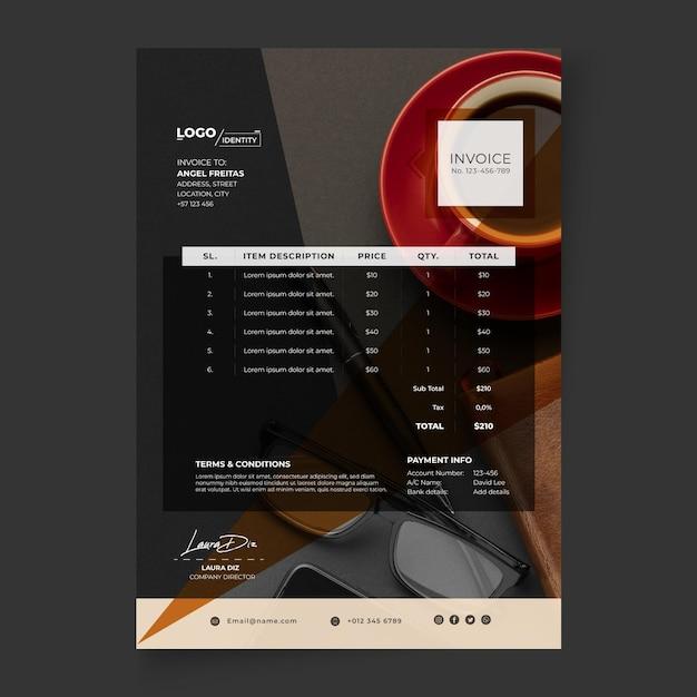 Modèle De Facture Commerciale Générale Vecteur gratuit
