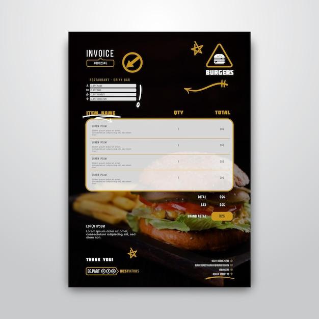 Modèle De Facture Pour Restaurant Burger | Vecteur Gratuite