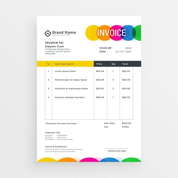 Modèle De Facture De Vecteur Coloré Vecteur gratuit