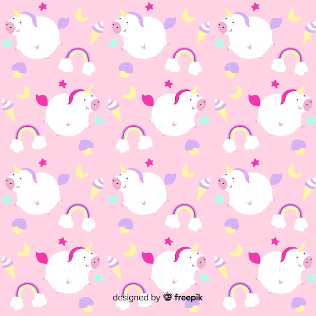 Modèle de fantaisie licorne dessiné à la main Vecteur gratuit