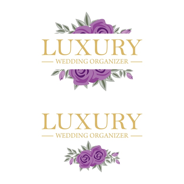 Modèle féminin de logo floral pour organisateur de mariage Vecteur Premium