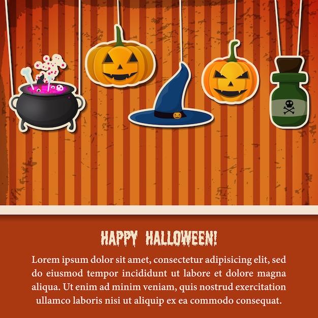 Modèle Festif De Fête D'halloween Vintage Avec Bouteille De Potion De Chaudron De Chapeau De Sorcière Citrouilles Suspendues En Papier Vecteur Premium