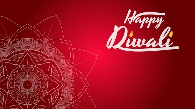 Modèle de festival de diwali avec mandala Vecteur Premium
