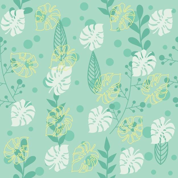 Modèle de feuille botanique avec fond vert Vecteur Premium