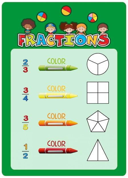 Modèle de feuille de calcul des fractions mathématiques Vecteur gratuit
