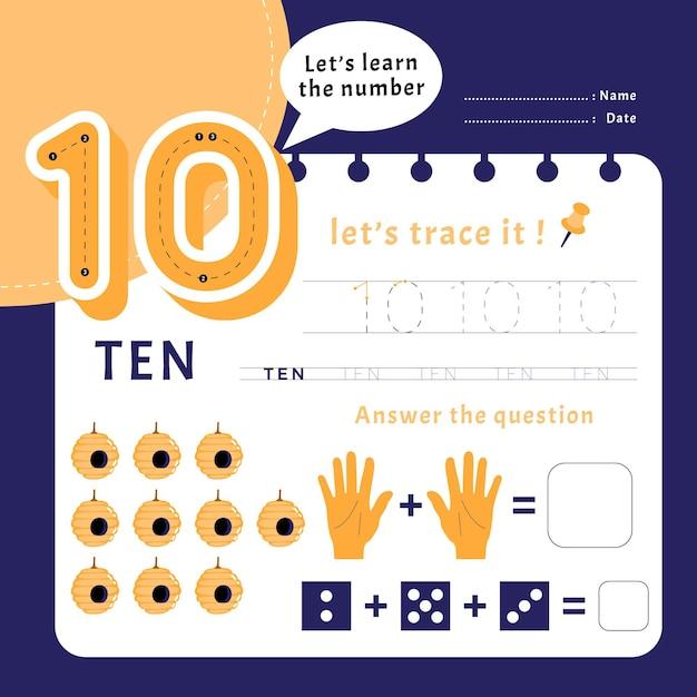 Modèle De Feuille De Calcul Numéro 10 Vecteur gratuit