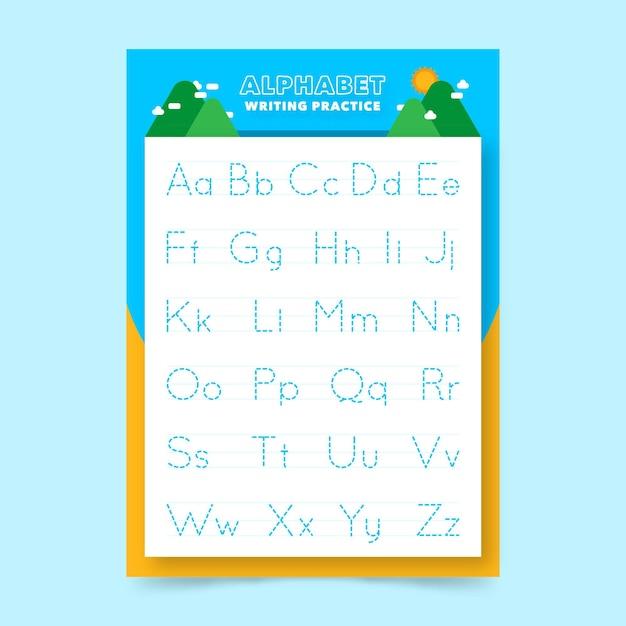 Modèle De Feuille De Calcul De Traçage Alphabet Pour Les Enfants Vecteur gratuit