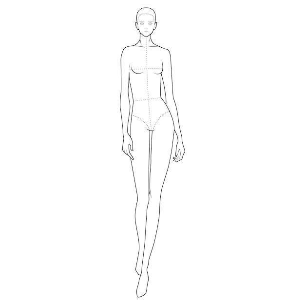 Modèle de figure de corps de mode Vecteur Premium