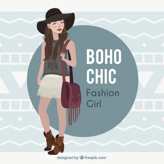 Modèle de fille de porter des vêtements dans la conception de boho Vecteur gratuit
