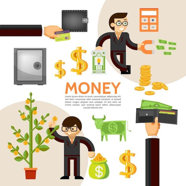 Modèle De Finance Plat Avec Homme D'affaires Argent Sûr Arbre Dollar Vache Portefeuille Pièces Calculatrice Financière Magne Vecteur gratuit