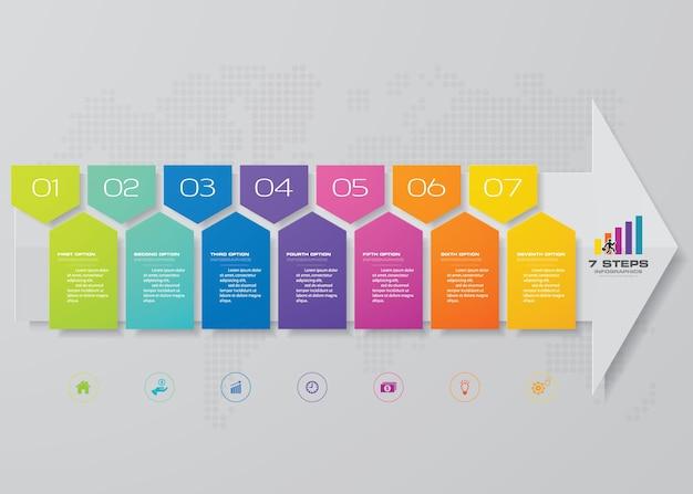 Modèle de flèche en 7 étapes pour la présentation des données. Vecteur Premium