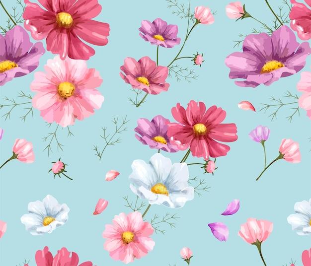 Modèle de fleur cosmos dessinés à la main Vecteur Premium