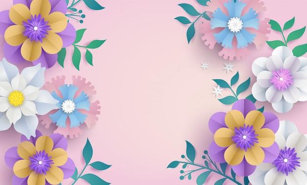 Modele De Fleur En Papier Decoupe Concept Vecteur Premium