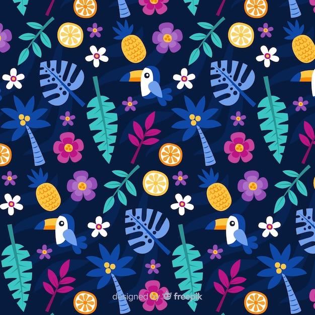 Modèle de fleurs et feuilles tropicales plates Vecteur gratuit