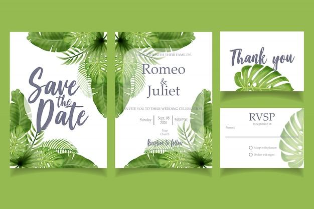Modèle floral carte verte invitation de fête de mariage de feuille d'aquarelle Vecteur Premium