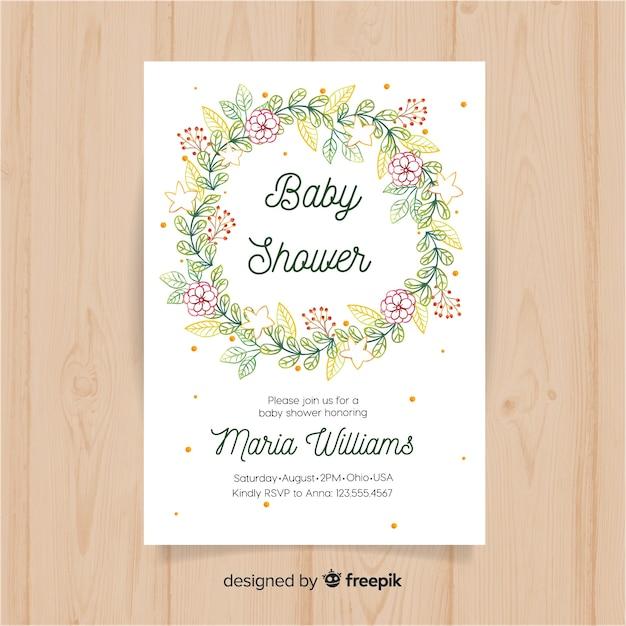 Modèle floral de douche de bébé Vecteur gratuit