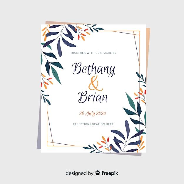 Modèle floral d'invitation de mariage Vecteur gratuit