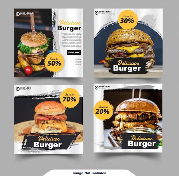 Modèle De Flux De Médias Sociaux Instagram Pour Hamburgers Vecteur Premium