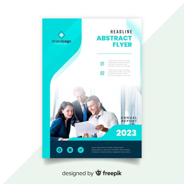 Modèle de flyer abstrait affaires avec photo Vecteur gratuit