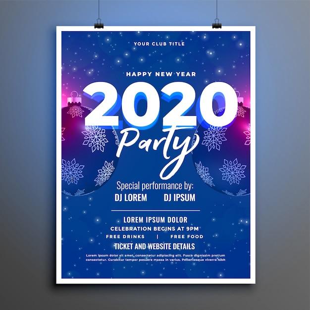 Modèle De Flyer Ou Affiche Du Nouvel An Bleu Fête 2020 Vecteur gratuit