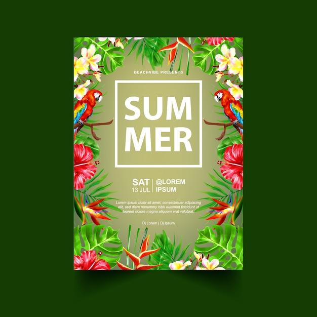 Modèle de flyer ou affiche événement fête d'été Vecteur Premium