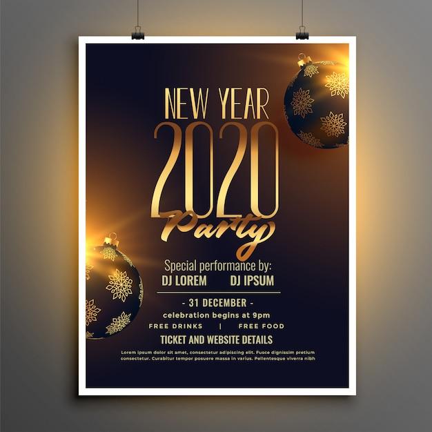 Modèle De Flyer Ou Affiche Fête De Bonne Année 2020 Vecteur gratuit