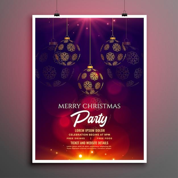 Modèle De Flyer Ou Affiche De Fête De Noël Vecteur gratuit