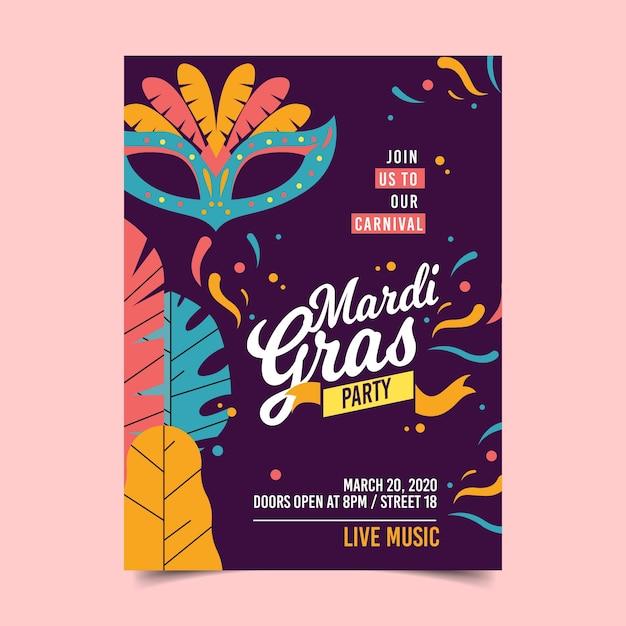 Modèle De Flyer / Affiche De Mardi Gras Vecteur gratuit