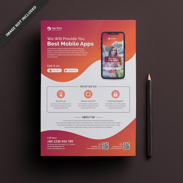 Modèle de flyer de application mobile Vecteur Premium