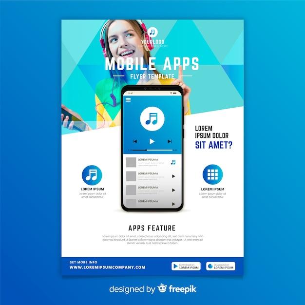 Modèle de flyer d'applications mobiles avec photo Vecteur gratuit