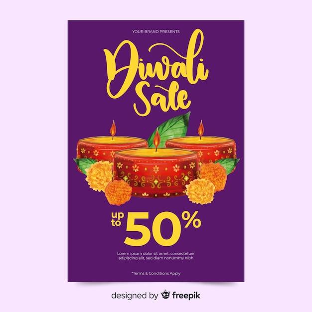 Modèle de flyer aquarelle diwali vente avec des bougies Vecteur gratuit
