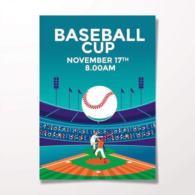 Modèle de flyer de baseball vintage Vecteur Premium