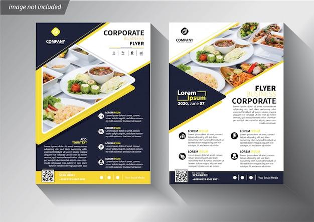 Modèle de flyer bleu et jaune pour brochure entreprise Vecteur Premium