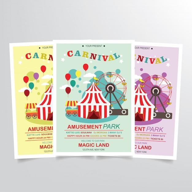 Modèle de flyer carnaval Vecteur Premium