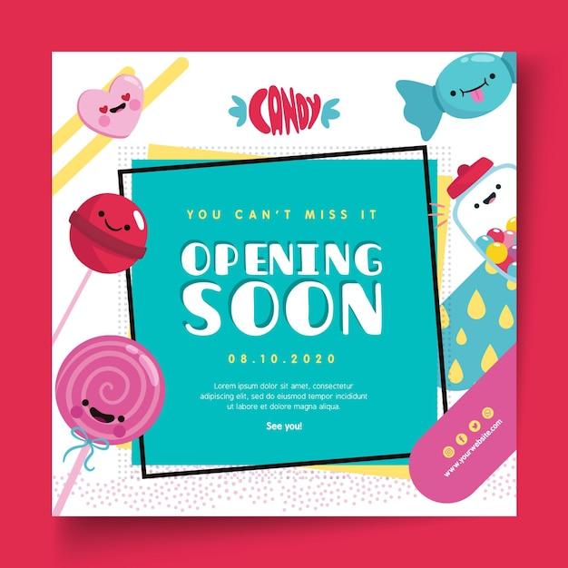 Modèle De Flyer Carré Candy Shop Vecteur Premium