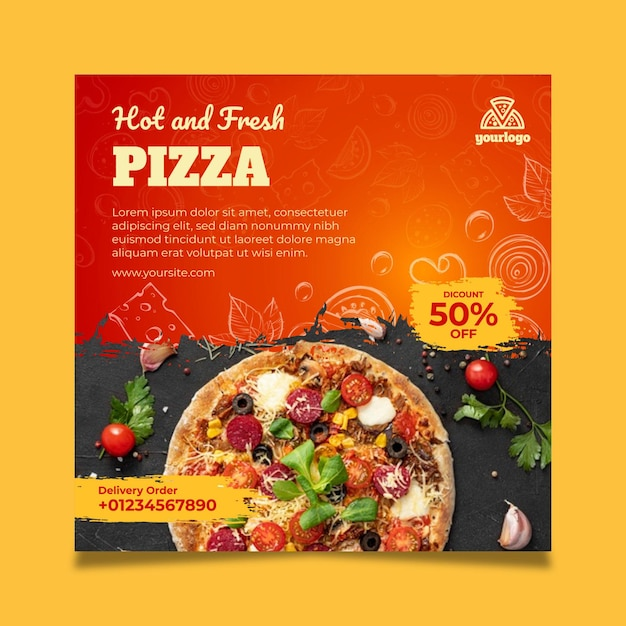 Modèle De Flyer Carré De Cuisine Italienne Vecteur gratuit