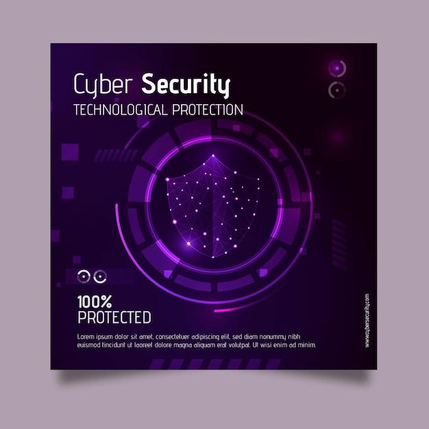 Modèle De Flyer Carré Cybersécurité Vecteur gratuit