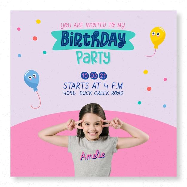 Modèle De Flyer Carré De Fête D'anniversaire Pour Enfants Vecteur gratuit